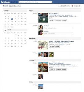 Gli Eventi di Facebook nella rinnovata modalità di visualizzazione 'Lista'